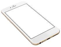 Smartphone-Gold mit dem leeren Bildschirm, lokalisiert auf weißem Hintergrund Stockfotos