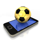 Smartphone Golden Football Royalty Free Stock Photos