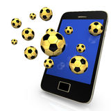 Smartphone Golden Footballs Stock Images