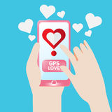 Smartphone Gps find to love heart. Concept vector smartphone find heart tim in love Royalty Free Stock Photos