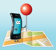Smartphone with GPS icon. Stock Photos