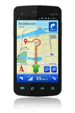 Smartphone with GPS navigation Stock Photo