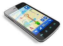 Smartphone with GPS navigation Royalty Free Stock Photos