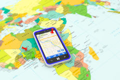 Smartphone with GPS navigation Stock Photography