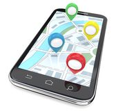Mobile GPS Pointers. Smartphone with GPS pointers on Screen Display Map. Top View. 3D render Royalty Free Stock Photography