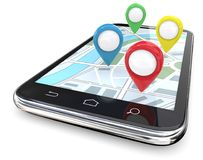 Smartphone GPS pointers. Smartphone with GPS pointers on Screen Map. Red, green, blue, yellow.  Copy Space, 3D render Stock Images