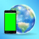 Smartphone gräsplanskärm med jordjordklotet Royaltyfri Fotografi