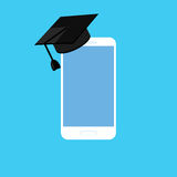 Smartphone with graduation hat, cap. Concept of education. Smartphone with graduation hat, cap. Online education, e-learning. Flat design illustration. Isolated Royalty Free Stock Photos