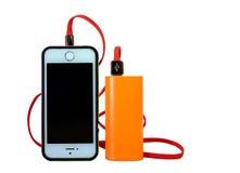Smartphone is greep door toebehoren Stock Afbeelding