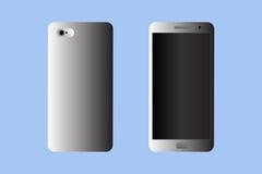 Smartphone grijs op een blauwe achtergrond Geïsoleerd Voorwerp Royalty-vrije Stock Fotografie