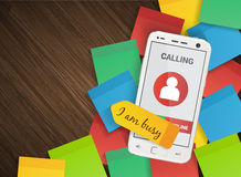 Smartphone on group of colorful stickers business Stock Image