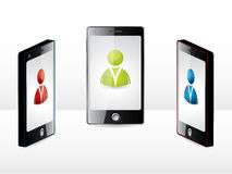 Smartphone group with different users Royalty Free Stock Photography