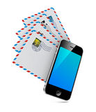 Smartphone with Group of Mails. Send an Email by Phone vector illustration