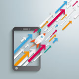 Smartphone Growth Arrows Rocket. Smartphone with arrows and rocket on the grey background royalty free illustration