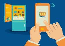 Smartphone ha controllato l'illustrazione senza fili del frigorifero Immagine Stock Libera da Diritti