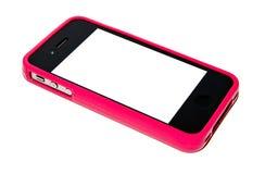 Smartphone ha coperto dal caso rosa Fotografia Stock Libera da Diritti