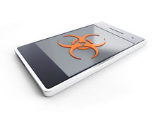 Smartphone ha infettato con un virus Fotografie Stock