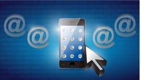 Smartphone ha selezionato su un fondo binario blu Fotografia Stock