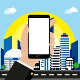 Smartphone in hand on cityscape background vector illustration
