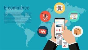 smartphone in hand, e-commerce infographic. stock illustration