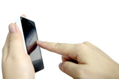 Smartphone with hand and finger press Royalty Free Stock Image