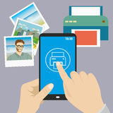 Smartphone in hand, finger presses on the print icon, printer an. D pictures ,flat design, vector Royalty Free Stock Images