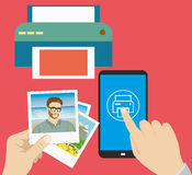 Smartphone in hand, finger presses on the print icon, printer an. Pictures  in hand, finger presses on the print icon, printer and pictures ,flat design, vector Stock Image