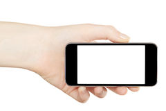 Smartphone in hand, horizontal Royalty Free Stock Photography