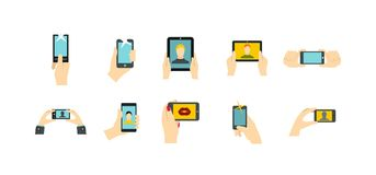 Smartphone in hand icon set, flat style. Smartphone in hand icon set. Flat set of smartphone in hand vector icons for web design isolated on white background Royalty Free Stock Images