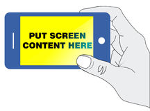 Smartphone in hand. An illustration to show content in a smartphone screen Stock Photography