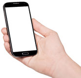 Smartphone in hand. Isolated on white background Stock Photography