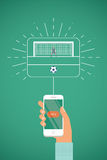 Smartphone in hand with Kick button. Goalkeeper stand in goal. Football / Soccer player kick on ball. Vector illustration Royalty Free Stock Image