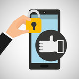 Smartphone hand like money security. Vector illustration eps 10 Royalty Free Stock Photography