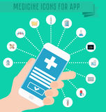 Smartphone in hand, medical application on the phone screen, infographics medical icons. Thermometer, tablets and pills, drug, car Royalty Free Stock Images