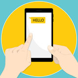 Smartphone hand message hello. Smartphone hand tab message hello flat Royalty Free Stock Photography