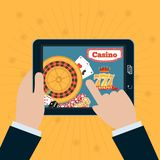 Smartphone in hand with the online casino on screen. Gambling app concepts vector illustration