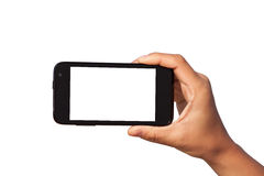 Smartphone in hand Stock Photography