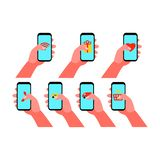 Smartphone in hand. Set of vector illustrations. In flat style stock illustration