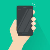 Smartphone in hand vector, black mobile phone empty screen Stock Image