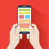 Smartphone in hands. Flat design royalty free illustration