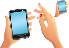 Smartphone and hands Royalty Free Stock Image