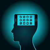The smartphone has become a part of a human head has replaced consciousness Stock Image