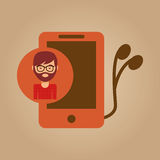 Smartphone and headphones man hipster Royalty Free Stock Photo
