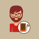 Smartphone and headphones man hipster Stock Images