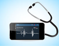 Smartphone and Heart Rate Monitor. Smartphone with heart rate monitor function Royalty Free Stock Photography