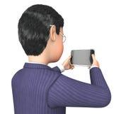 Smartphone-het Karakter vertegenwoordigt 3d Teruggeven het Bedrijfs van Person And Businessman Royalty-vrije Stock Afbeelding