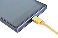 Smartphone with high speed gold usb cable Stock Photo