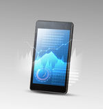 Smartphone and high tech background Royalty Free Stock Images