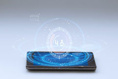 Smartphone and high tech background Stock Photo