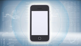 Smartphone on high-tech blue background Royalty Free Stock Photo
